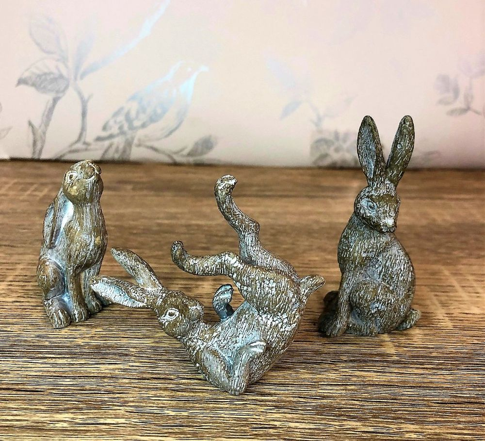 Grey Trio of Hares Farmyard Decorative Ornament